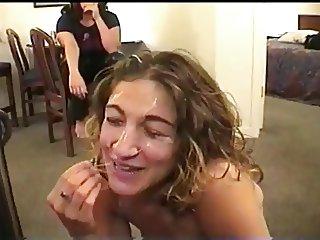 Friends watch her get facial