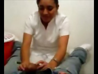 Turkish Nurse Licking and Playing with Dick