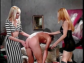 Two bossy trannies humps gay on sofa