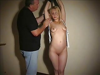 Submissive Blondie tit tied and humiliated