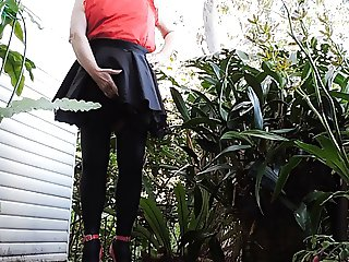 Sissy Ray in Black Satin French Maids Outfit