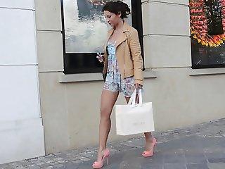 Teen shopping public in high heels dress upskirt