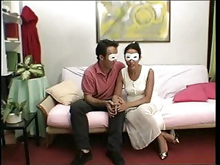 Masked couple very hairy mature pussy