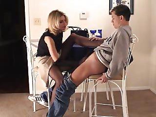 Brandi gives Nylon Handjob