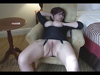 Glossy stockings shaven milf