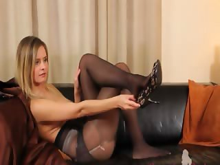 Black pantyhose and ultra cute lingerie