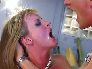 Blonde mom deep double penetration