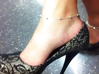 High Heel Dangle on the London Underground Train
