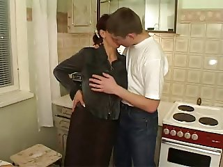 My Hairy Aunt fuck my friends on Kitchen