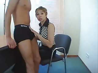 Russian school teacher for the first time on porn casting