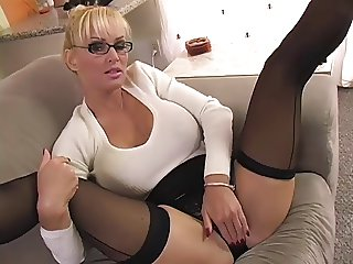 Blonde Milf in sweater teases you