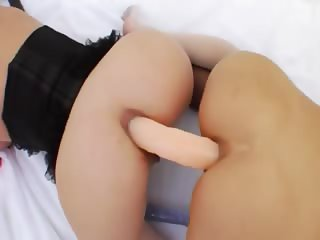 Double dildo and deep anal bitches