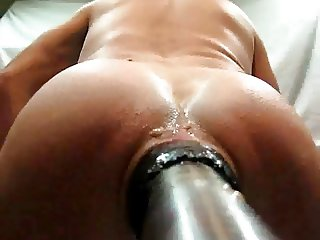 Fucking big dildo with a camera on it