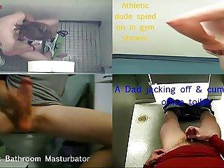 Spying on Kinky Men who Masturbate Fucks in Public Toilets