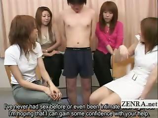 Subtitled Japanese CFNM tiny penis examination party