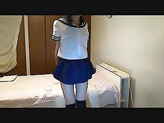 Crossdresser swimsuit under the uniform