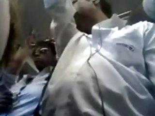 Encoxando woman in subway