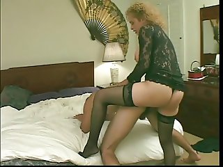 Busty blond tranny in sexy lingerie sucks cock fucks ass then gets ass fucked