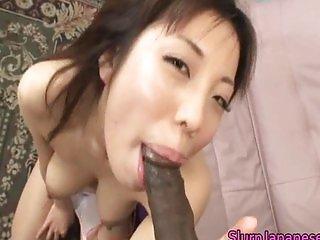 Mei Amazaki Asian doll gives a hot blowjob