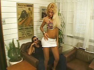 Busty blonde shemale bombshell in action