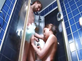 fluent couple have anal fun in a shower
