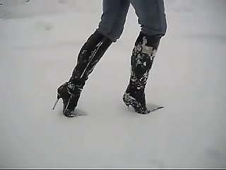 Sexy boots in snow