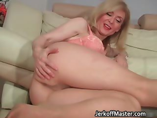 Blond MILF Nina stripping and rubbing part6