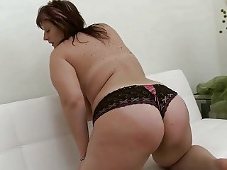chubby girl with enormous tits in masturbating action