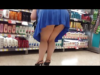 Blue mini dress black panty and heels