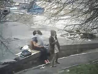 Bitch fucks lucky stranger in the park