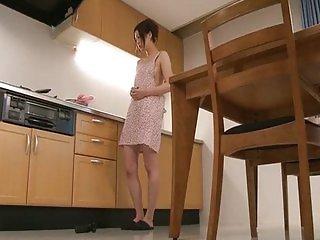 Riko has a dildo dream in her kitchen