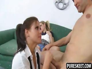 Dirty teacher seduces two of his young students