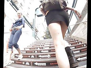 Brunette Upskirt Black Skirt white Thong in Berlin
