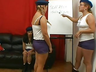 Cruel brazilian teacher punishes two girls