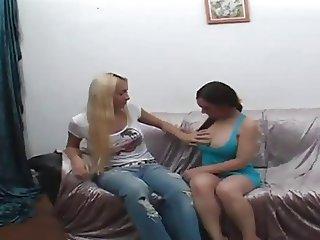 Sexy Blond Tranny Fucks A Latina Babe Really Deep