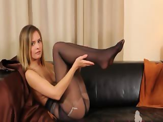 Black pantyhose and ultra hot stockings