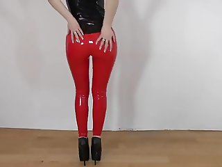 Sexy red liquid latex leggings