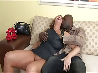 milf in sexy lingerie having interracial sex at home