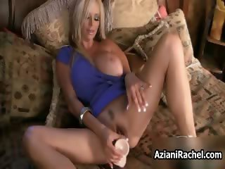 Busty blonde milf goes crazy dildo part3