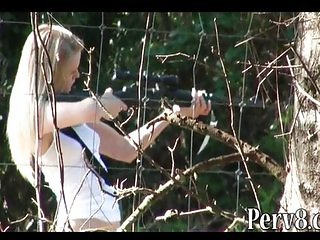 Gun shooting amateur girl fucked outdoor