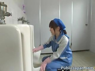 Asian beauty is cleaning the mens room part1