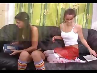 Hot lesbians fucking on the couch