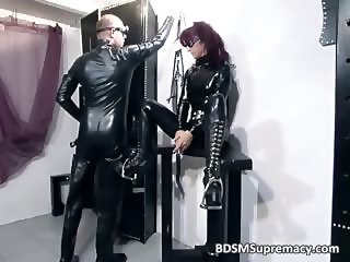 Redhead bitch in latex cloth gets pussy part6